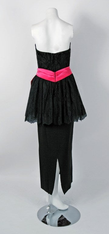 1950's Ceil Chapman Black & Pink Chantilly Lace Strapless Peplum Gown For Sale 1