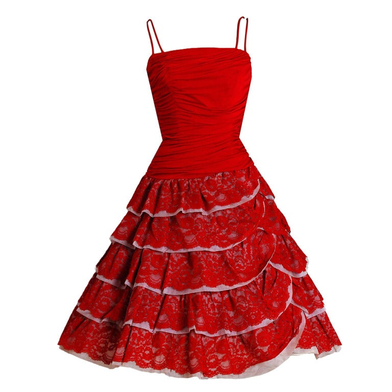 1950's Elegant Ruby-Red Ruched Jersey & Lace Tiered Full Party Dress 1