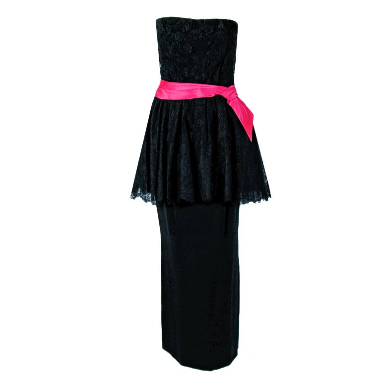 1950's Ceil Chapman Black & Pink Chantilly Lace Strapless Peplum Gown