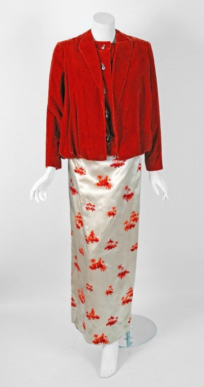 1950's Pauline Trigere Ivory & Orange Novelty Print Satin Evening Gown With Jacket 3