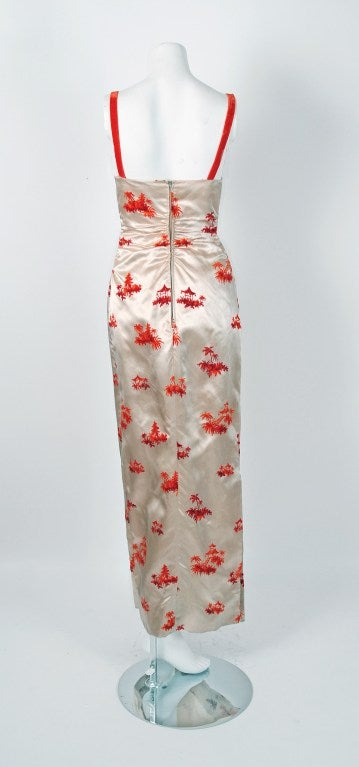 1950's Pauline Trigere Ivory & Orange Novelty Print Satin Evening Gown With Jacket 4