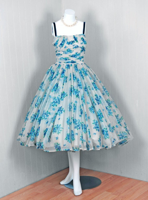 1950's Frank Starr Blue-Floral Ruched Chiffon Full Party Dress 2