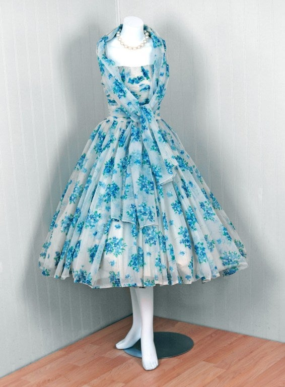 1950's Frank Starr Blue-Floral Ruched Chiffon Full Party Dress 4
