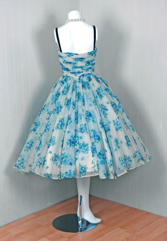 1950's Frank Starr Blue-Floral Ruched Chiffon Full Party Dress 5