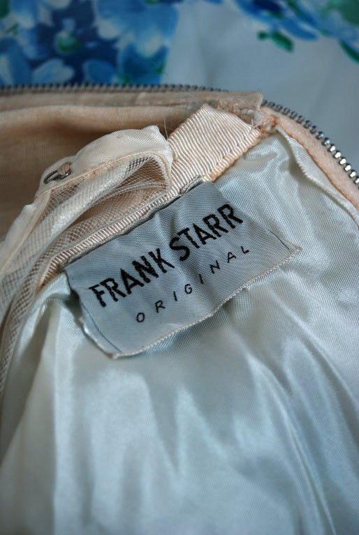 1950's Frank Starr Blue-Floral Ruched Chiffon Full Party Dress 6