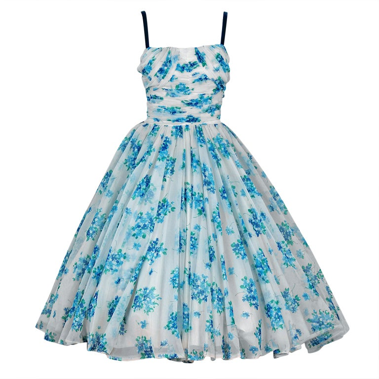 1950's Frank Starr Blue-Floral Ruched Chiffon Full Party Dress 1
