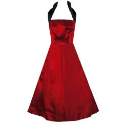 1950's Sorelle Fontana Couture Ruby-Red & Black Satin Halter Party Dress