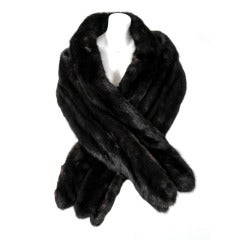 1960's Elegant Black Diamond Mink-Fur Scalloped Long Wrap Shawl Stole