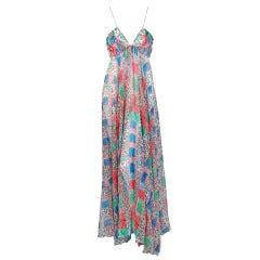 1970's Ossie Clark Colorful Celia Birtwell Crepe-Silk Print Low-Cut Maxi Dress