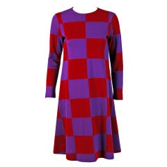 1971 Rudi Gernreich Op-Art Red & Purple Checkered Graphic Wool Mod Dress