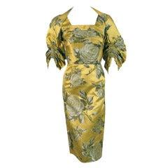1950's Sophie Gimbel Chartreuse-Yellow Roses Floral-Print Satin Dress & Jacket