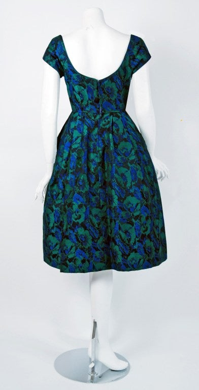 Women's 1950's Michael Novarese Blue & Green Floral Garden Print Silk Party Dress For Sale