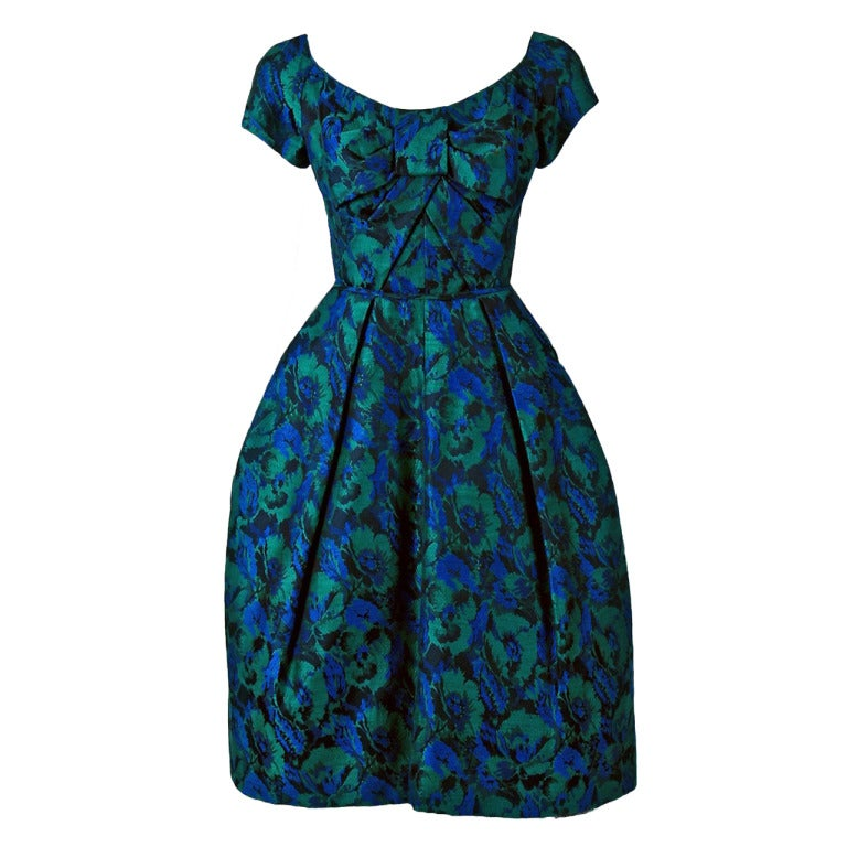 1950's Michael Novarese Blue & Green Floral Garden Print Silk Party Dress For Sale