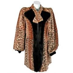 1930's Luxurious Leopard-Print Mouton Genuine Fur Poet-Sleeve Swing Coat