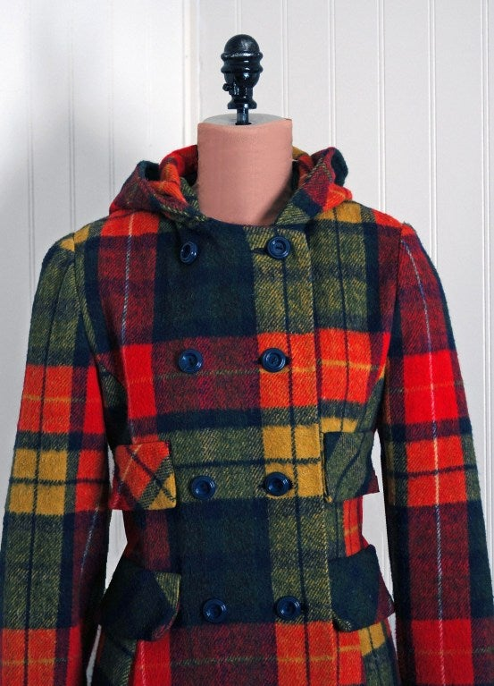 1970 S Colorful Rainbow Plaid Wool Double Breasted Hooded