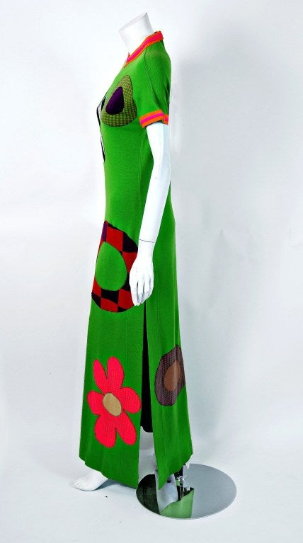 1960's Rudi Gernreich Rare Flower-Power Applique Op-Art Wool Mod Dress Gown In Excellent Condition For Sale In Beverly Hills, CA