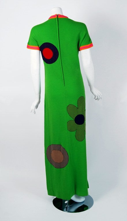 Women's 1960's Rudi Gernreich Rare Flower-Power Applique Op-Art Wool Mod Dress Gown For Sale