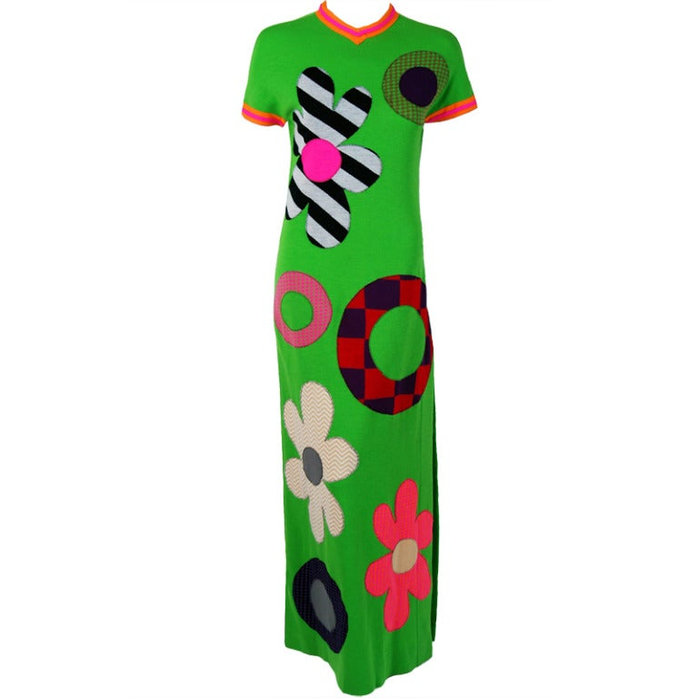 1960's Rudi Gernreich Rare Flower-Power Applique Op-Art Wool Mod Dress Gown For Sale