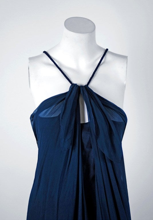 1970's Stavropoulos Navy-Blue Draped Silk Chiffon Grecian Goddess Gown 2