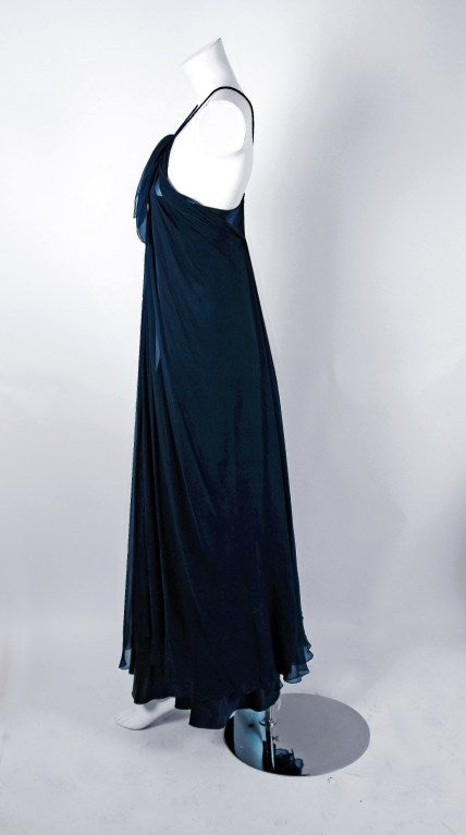 1970's Stavropoulos Navy-Blue Draped Silk Chiffon Grecian Goddess Gown 3