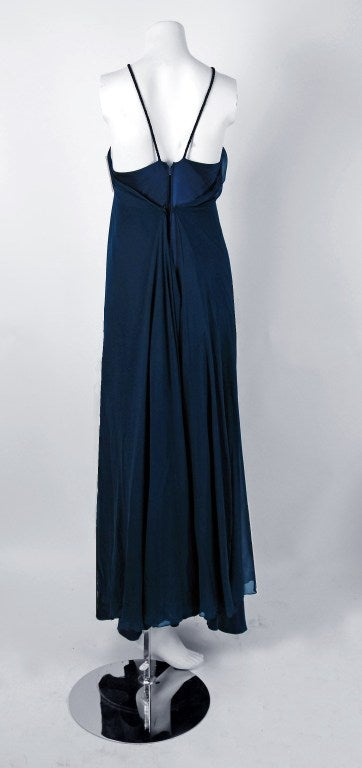 1970's Stavropoulos Navy-Blue Draped Silk Chiffon Grecian Goddess Gown 4