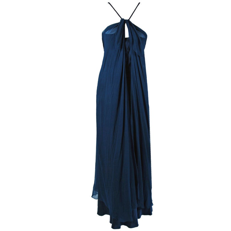 1970's Stavropoulos Navy-Blue Draped Silk Chiffon Grecian Goddess Gown 1