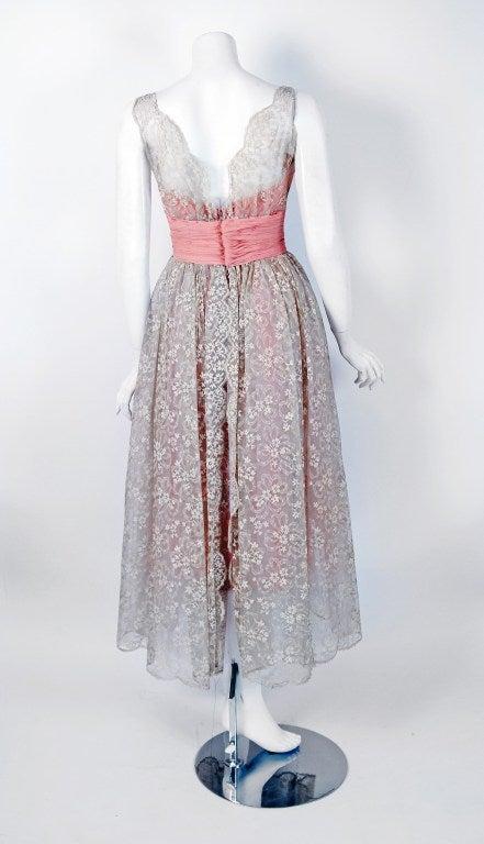 Women's 1950's Jeanne Lanvin Castillo Haute-Couture Pink Silk & Gray Lace Party Dress