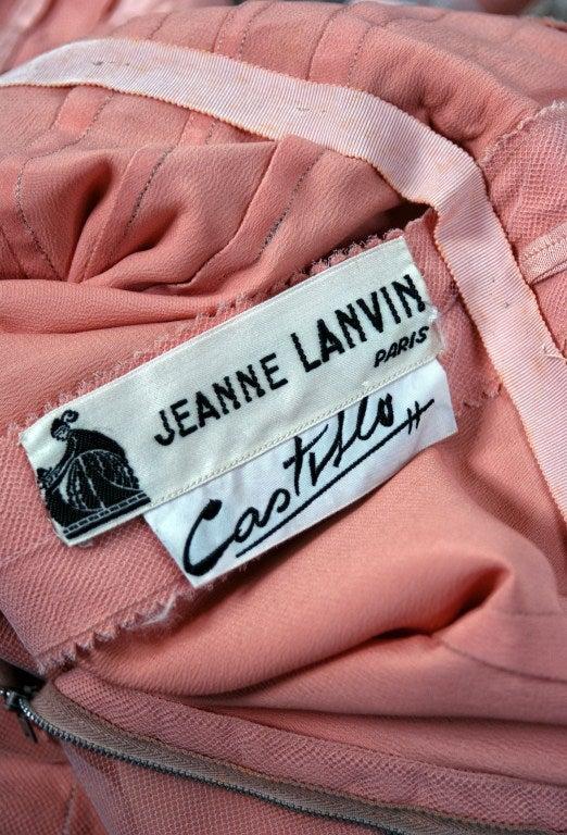 1950's Jeanne Lanvin Castillo Haute-Couture Pink Silk & Gray Lace Party Dress 1