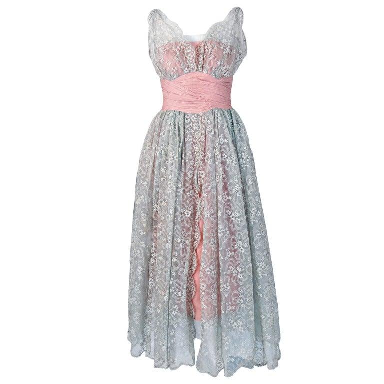1950's Jeanne Lanvin Castillo Haute-Couture Pink Silk & Gray Lace Party Dress