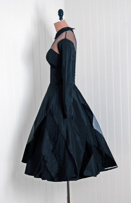 1950's Black Silk-Taffeta Illusion Net-Tulle Chervon Stripe Long-Sleeve Full Party Dress In Excellent Condition For Sale In Beverly Hills, CA