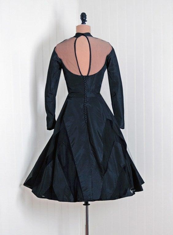 1950's Black Silk-Taffeta Illusion Net-Tulle Chervon Stripe Long-Sleeve Full Party Dress For Sale 1
