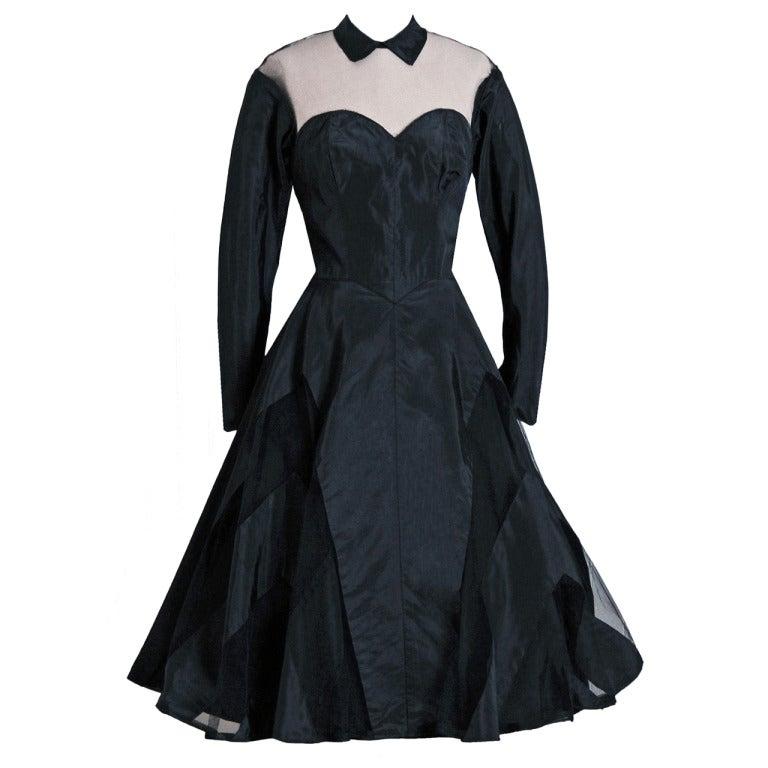 1950's Black Silk-Taffeta Illusion Net-Tulle Chervon Stripe Long-Sleeve Full Party Dress 1