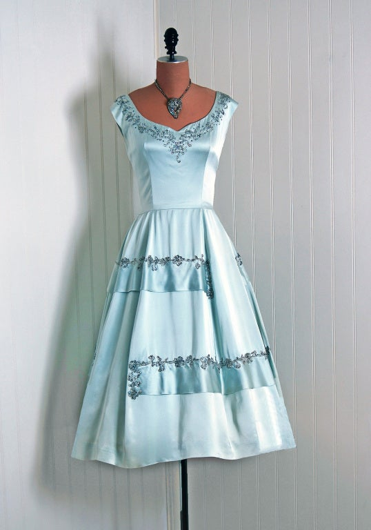 1950's Harvey Berin Rhinestone Baby-Blue Satin Cocktail Dress 2