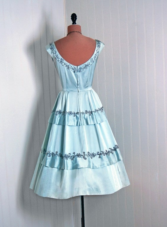 1950's Harvey Berin Rhinestone Baby-Blue Satin Cocktail Dress 5