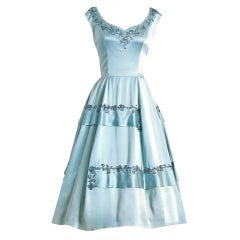 1950's Harvey Berin Rhinestone Baby-Blue Satin Cocktail Dress