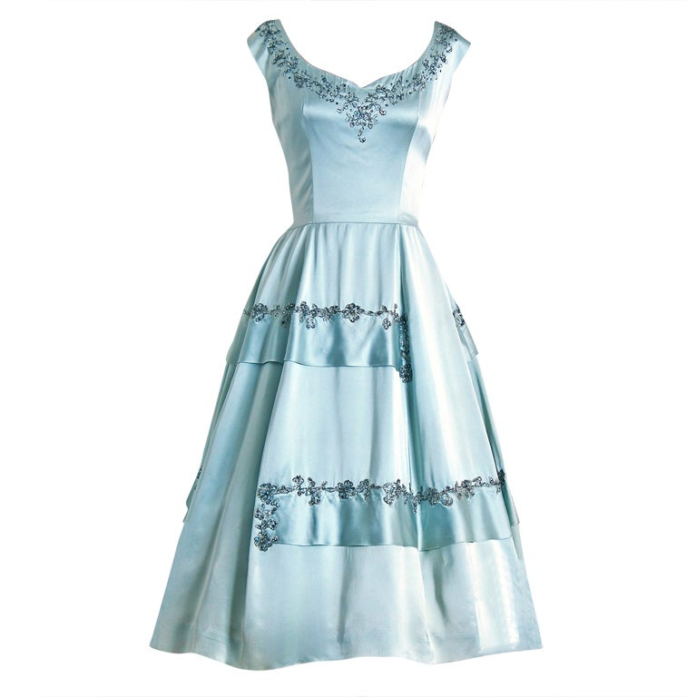 1950's Harvey Berin Rhinestone Baby-Blue Satin Cocktail Dress 1