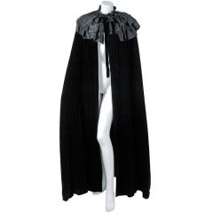 1970's Givenchy Dramatic Black Silk-Velvet & Satin Tiered-Ruffle Maxi Coat Cape