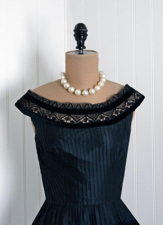 1950's Lillie Rubin Black & Pink Pintuck Silk Taffeta Illusion Full Party Dress 2