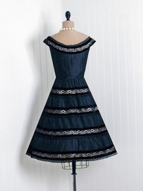 1950's Lillie Rubin Black & Pink Pintuck Silk Taffeta Illusion Full Party Dress 4