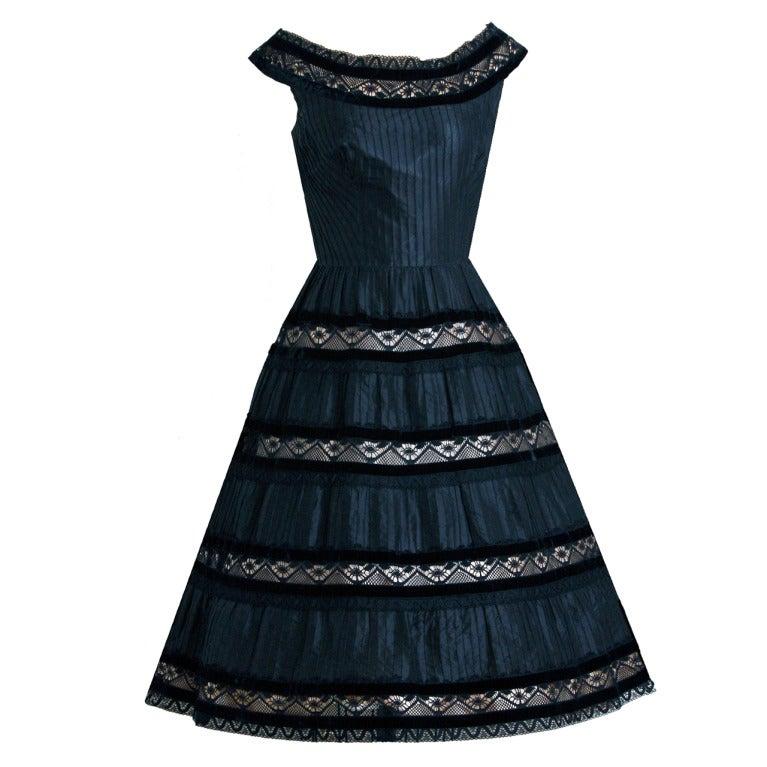 1950's Lillie Rubin Black & Pink Pintuck Silk Taffeta Illusion Full Party Dress 1