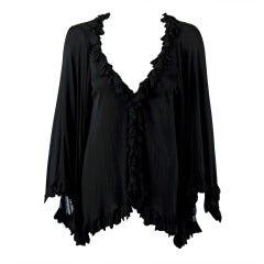1970's Holly's Harp Black Silk-Jersey Petal Applique Angel-Sleeve Jacket Blouse