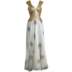 1930's Metallic Gold-Lame & Embroidered Floral Chiffon Bias-Cut Hourglass Gown