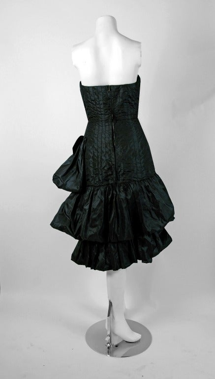 1951 Bruxelles Custom Couture Black Silk Pintuck Strapless Puff Party Dress For Sale 1