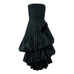 1951 Bruxelles Custom Couture Black Silk Pintuck Strapless Puff Party Dress