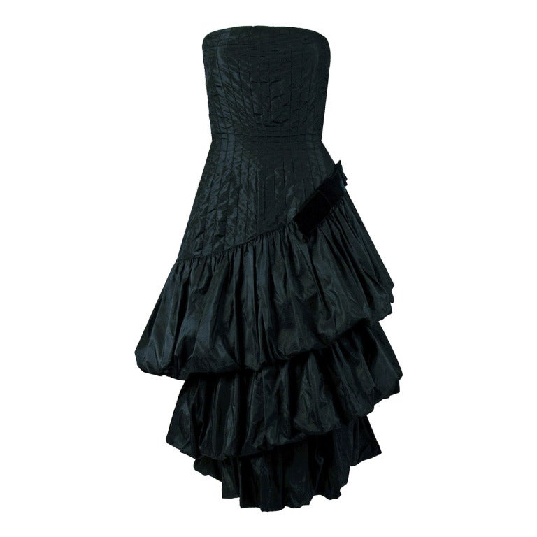 1951 Bruxelles Custom Couture Black Silk Pintuck Strapless Puff Party Dress For Sale