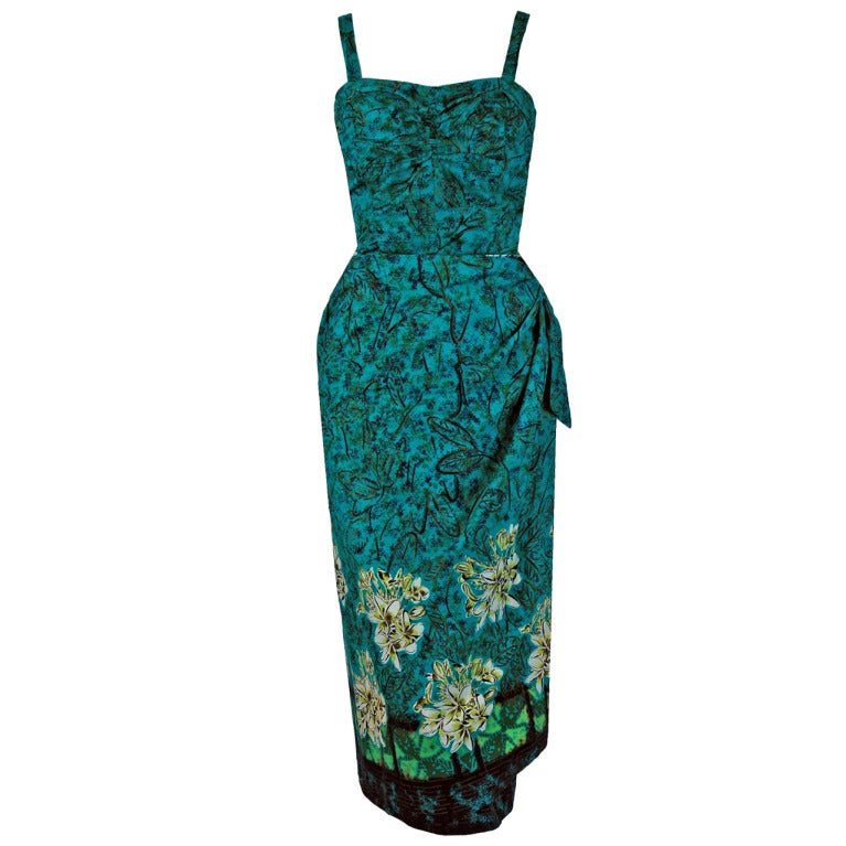 30f2932e08e0 1950's Alfred Shaheen Hawaiian Tropical-Floral Wiggle Sarong Dress Swimsuit  Set For Sale