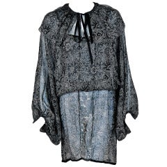 1970's Yves Saint Laurent Floral Print Silk Bohemian Mini Dress & Peasant Blouse Set