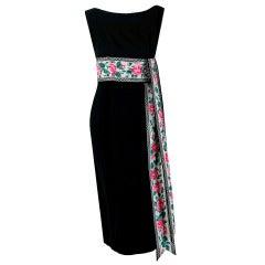 1950's Mr. Mort Watercolor Pink-Roses Linen Cotton Floral Wiggle Black Dress