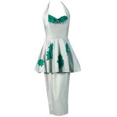 1950's Lilli Diamond Green & Silver Shelf-Bust Halter Applique Peplum Dress