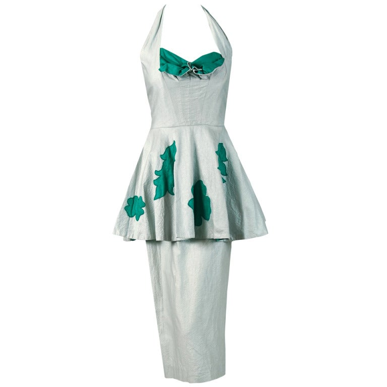 Lilli Diamond Green and Silver Shelf-Bust Halter Applique Peplum Dress, 1950s  For Sale